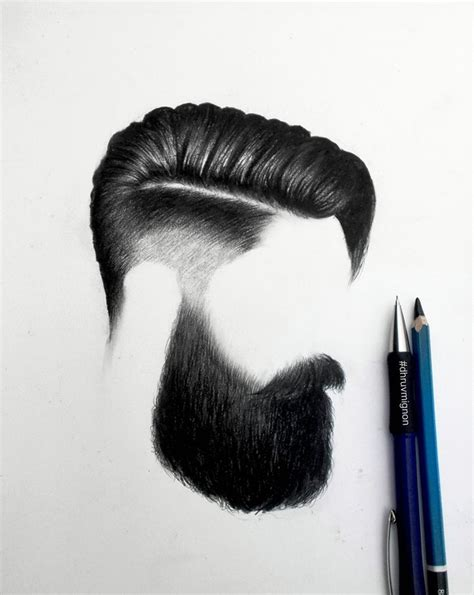 pencil drawing of hair styles of men beard style 8 drawn with our mars lumograph pencil and
