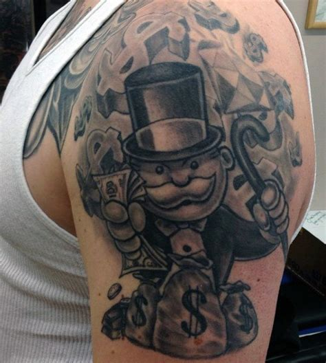 monopoly man tattoo 50 money tattoos for wealth of masculine design ideas