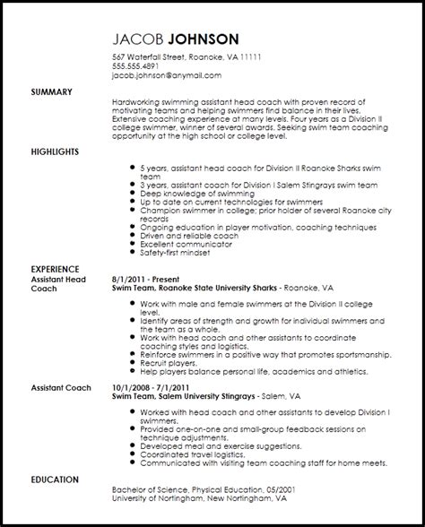 Resume Template Coaching by Free Professional Sports Coach Resume Template Resumenow