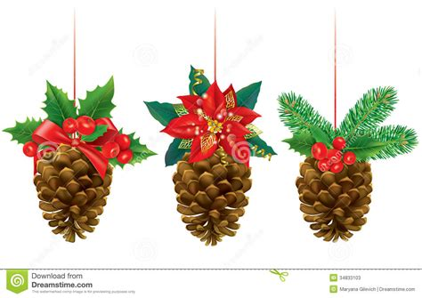 christmas decorations from pine cones stock vector image