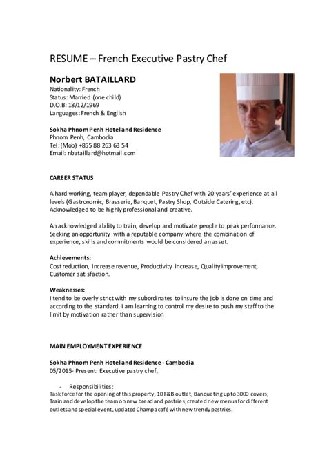 resume sle for pastry chef norbert resume