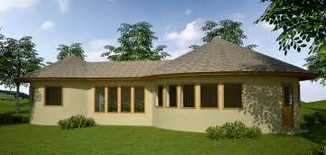 Two roundhouses with greenhouse earthbag house design click to