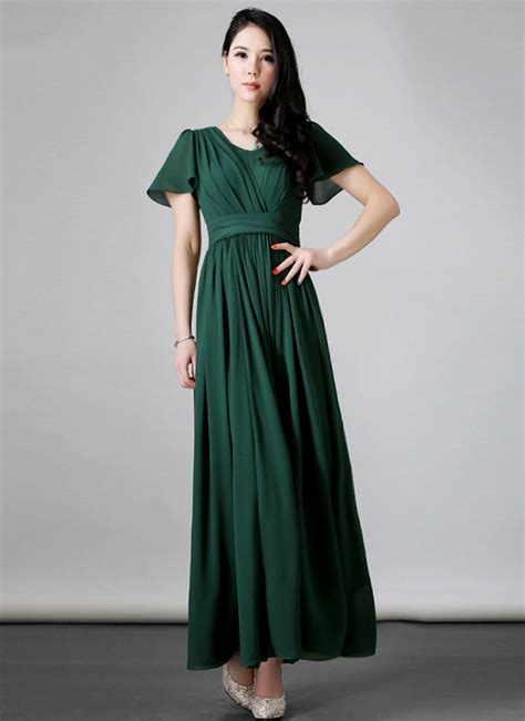 Rm Maxi green maxi dress with layered front bodice and flutter sleeves rm robeplus