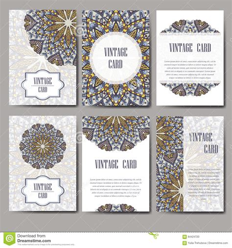 retro place card template retro card with mandala vintage background with place for