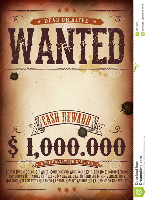 Or For Free Wanted Vintage Western Poster Stock Vector Illustration Of Guarantee Gunshot 59173182