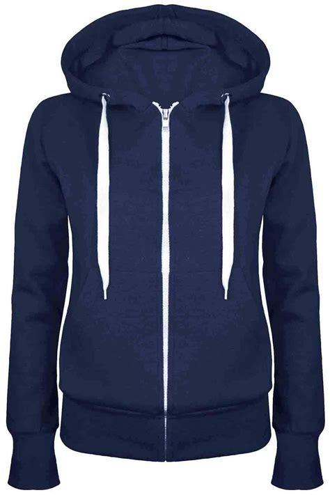 Jaket Hoodie plain hoody zip top womens hoodies sweatshirt jacket plus size 6 26 ebay