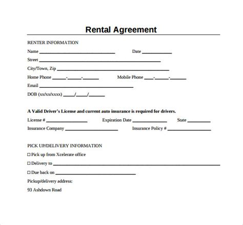 Simple Rental Agreement Form Sle Generic Rental Agreement 6 Free Documents In Pdf