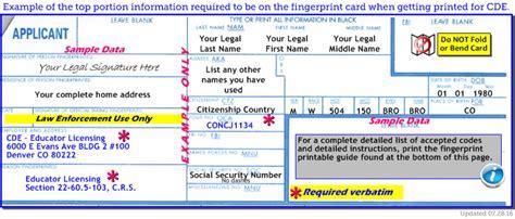 Fbi Background Check Credit Card Form Fingerprint Requirements School Cde