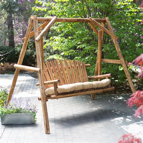 patio swing set coral coast rustic oak log curved back porch swing and a