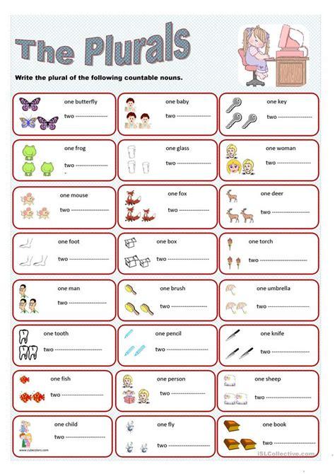 Plural Worksheets by 145 Free Esl Plurals Worksheets