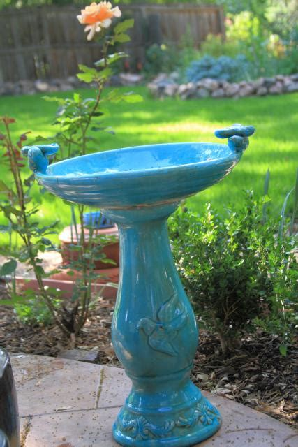a beautiful blue bird bath jenny s colorado garden journal