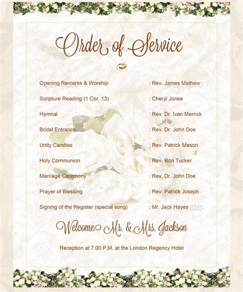 sle wedding ceremony program template order of service for a wedding ceremony template wedding