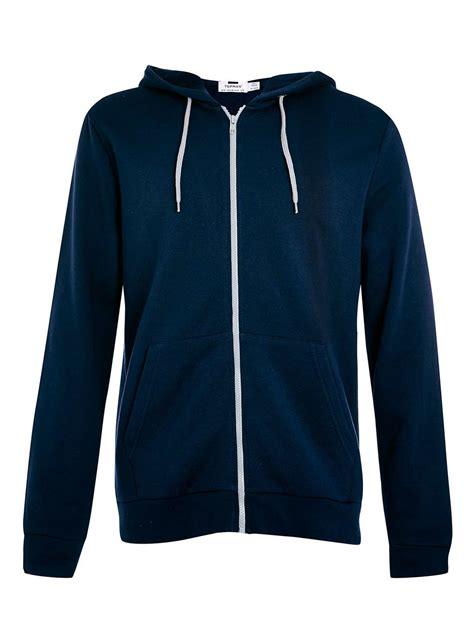 hoodie zipper navy topman navy zip through hoodie with contrast grey zip in