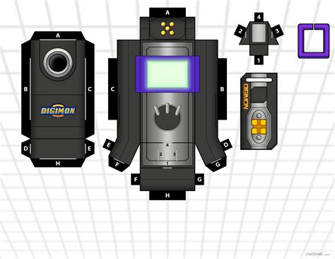 Digivice Papercraft - data link blk purple by randyfivesix on deviantart