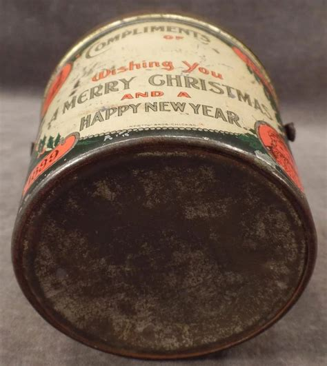 antique christmas tin candy container pail  santa   ogees antiques ruby lane