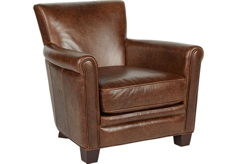 Accent Chair Leather Tamron Walnut Leather Accent Chair Accent Chairs Brown