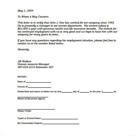 Employment Verification Letter Notarized Editable Notarized Letter Of Employment Template Pdf Templatezet