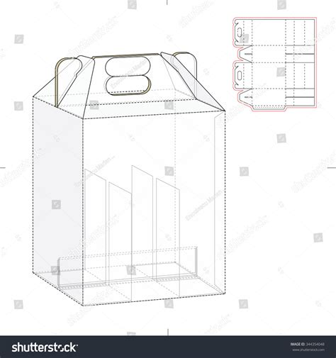 six pack carrier box with die cut template stock vector