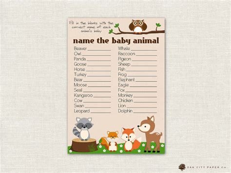 baby animal name baby shower name the baby animal baby shower woodland animal theme