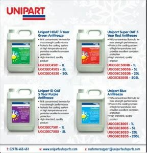 Unipart Garages by Unipart S Concentrated Antifreeze Fulfils Cv Requirements