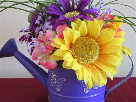 watering can centerpieces watering can sunflowerhydrangea centerpiece silk by silksbysally