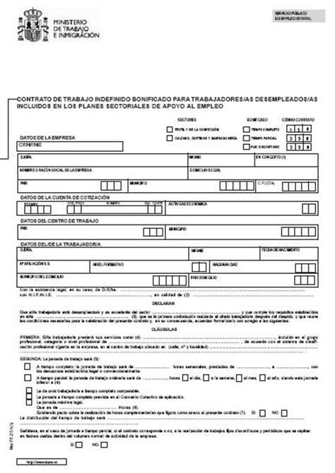 contrato de trabajo con trabajadores del servicio domestico modelos contrato laboral indefinido bonificado para