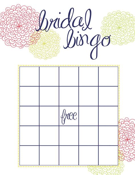 bingo card template free free bridal shower printable bingo cards
