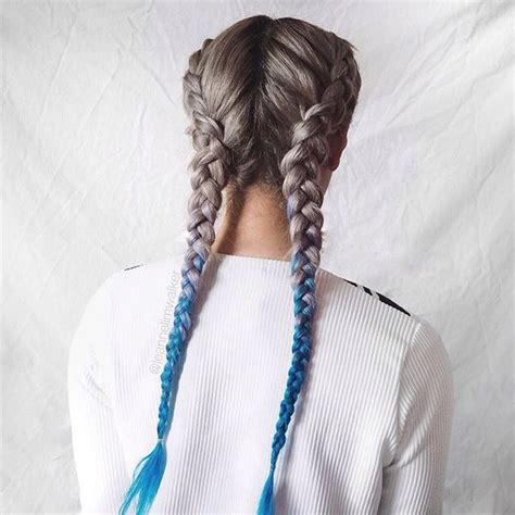 pictures of blue hair braided into brown hair 25 best ideas about 2 french plaits on pinterest styles