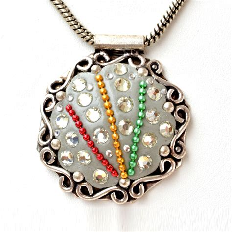Accessories Handmade - handmade gray pendant studded with metal chains