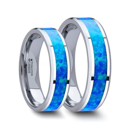 matching rings set tungsten wedding band with blue green