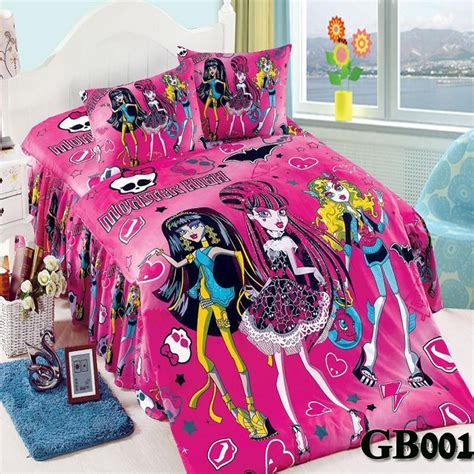 monster high bed set hot selling monster high purple oil pink printing twin