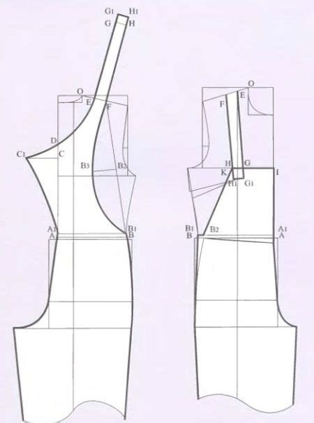 pattern drafting jumpsuit russian site showing how to alter a standard pant and