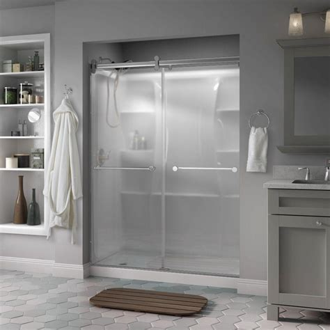 Modern Glass Shower Doors Delta Crestfield 60 In X 71 In Semi Frameless Contemporary Sliding Shower Door In Chrome With