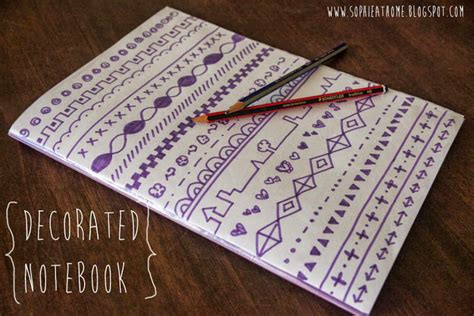 at home craft decorate a notebook