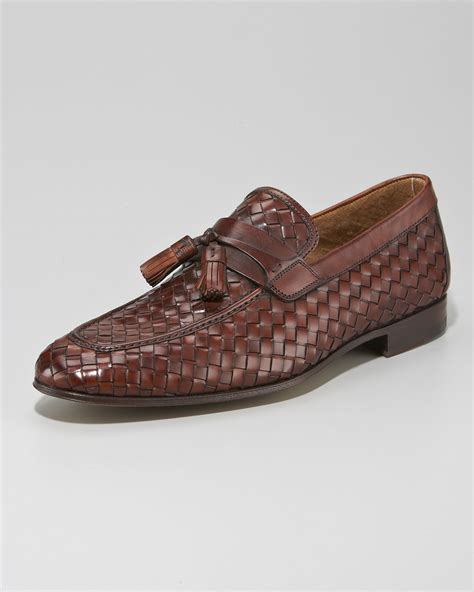 tassel loafer magnanni for neiman woven tassel loafer brown in
