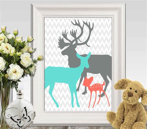 coral turquoise gray boy bedroom decor print deer family
