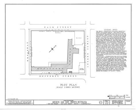 mission san luis obispo de tolosa floor plan architectural drawings california missions resource center