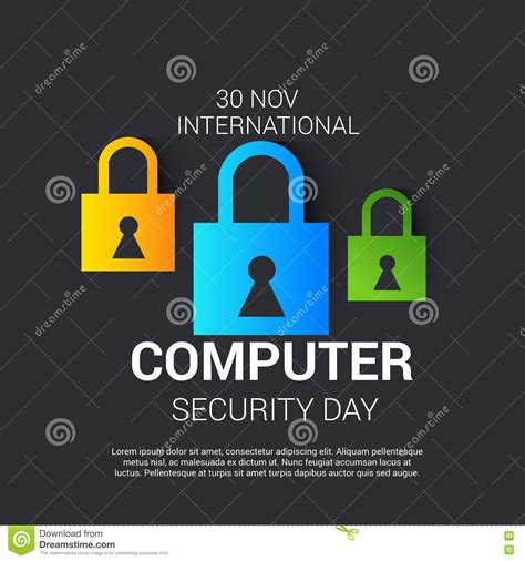 day security international computer security day stock illustration