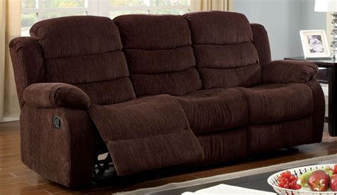 millville dark brown chenille reclining sofa from