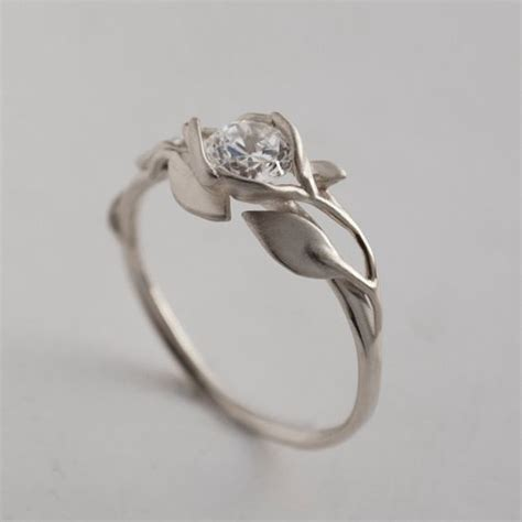 Wedding Rings Leaves by Leaves Engagement Ring No 6 14k White Gold And