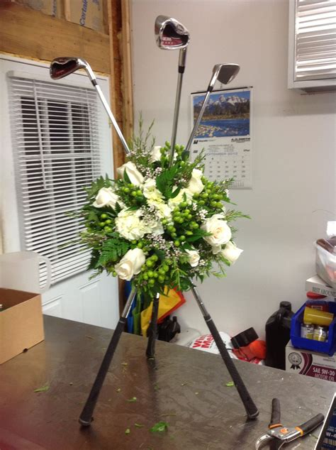 tribute flowers  golf clubs golf decor golf party
