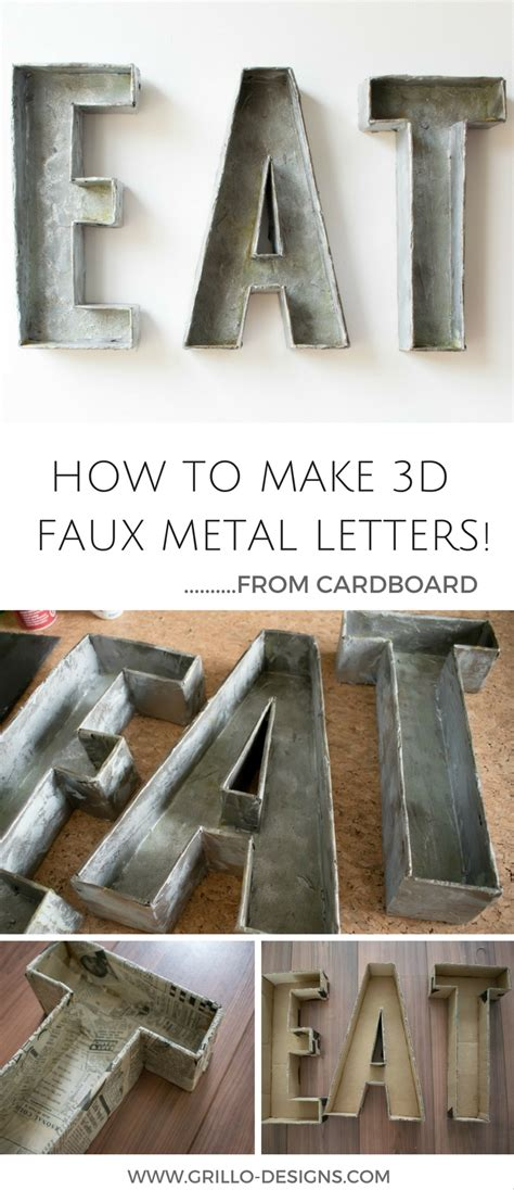 How To Make A 3d Box Out Of Paper - 3d faux metal letters tutorial from cardboard