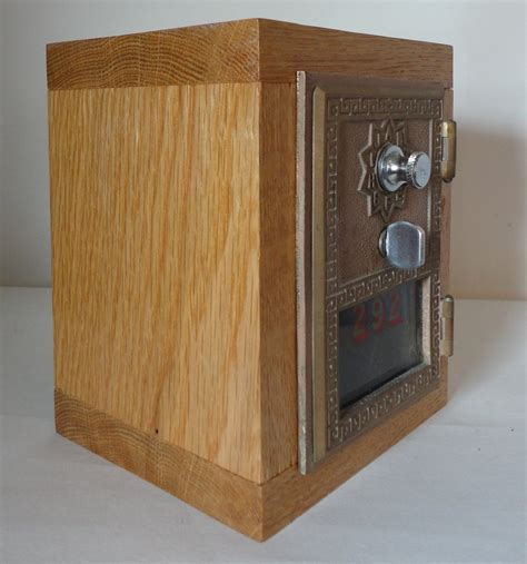 golden oak wooden safe  vintage brass post office door