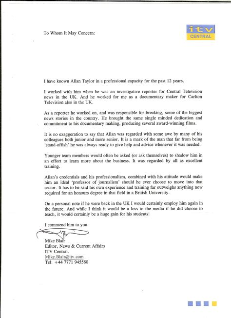 Recommendation Letter Journalist Journalistic Experience