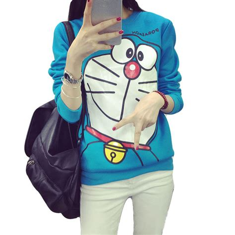 Sweater Doraemon new arrival 2015 hoodies doraemon cat print sleeve harajuku sweatshirt blue