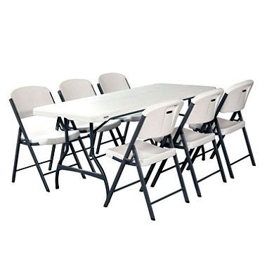 White Folding Table And Chairs Lifetime Combo 6 Commercial Grade Folding Table And 6 Folding Chairs White Granite Sam S