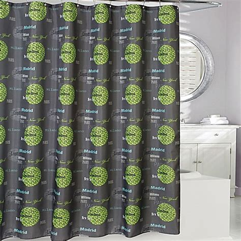 grey green curtains cosmopolitan cities shower curtain in grey green bed
