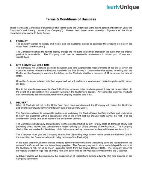 terms of service agreement template free terms and conditions template incheonfair