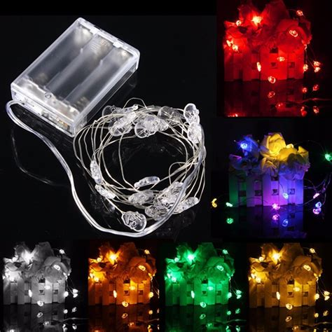 2m 20 Led Skull Style Battery Operated Xmas String Fairy Battery Operated Lights For Weddings