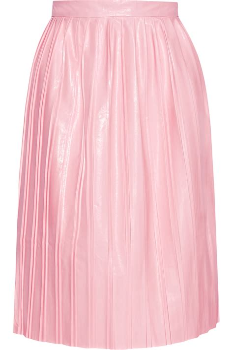 suno pleated faux leather skirt in pink lyst